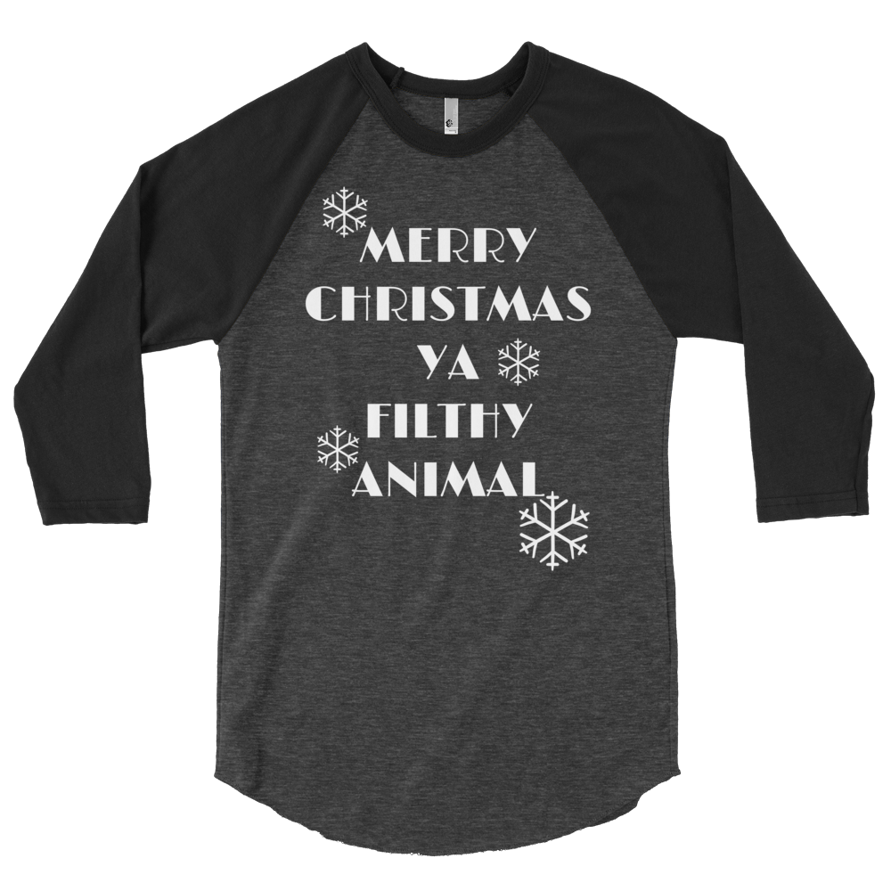 2c1814c8 Merry Christmas Ya Filthy Animal Raglan | Custom Apparel | Blue Elephant  Clothing